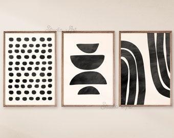Printable Art, Mid Century Modern Art Prints, Abstract Geometric print Set of 3 Prints, Beige, Black Art, Modern Wall Art Decor, Digital Art