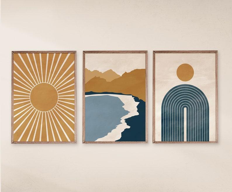 Modern Wall Art Mid Century Modern Art Set of 3 prints Navy Blue and Yellow Art Digital Art Abstract Geometric print Printable Art