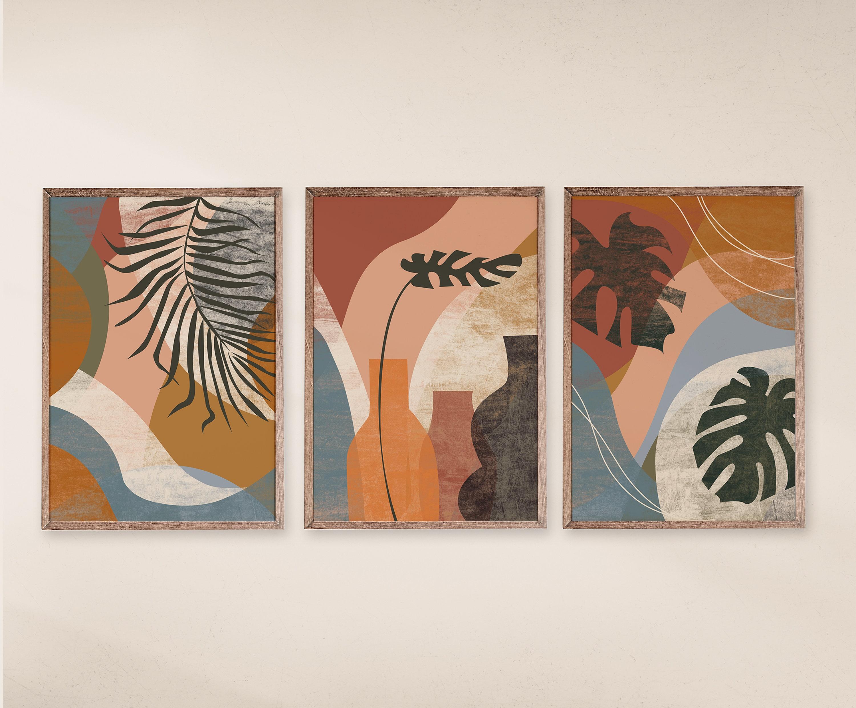 Printable Art, Abstract Botanical Art Set of 20 Prints, Boho Decor, Mid  Century Modern Tropical Leaves Print, terracotta green Wall Art