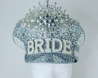 Bride hat in Silver sparkle with holographic gem detail Perfect for hen parties Hen do hat  Hen party hat   festival hat
