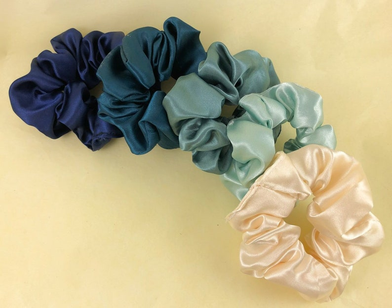 Ocean Blue Pack of 5 Satin Scrunchies GIFT SET made from surplus  dead stock locally sourced in the UK