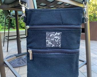 Three zippered pockets cross body black canvas bag/pouch/Japanese Fabric
