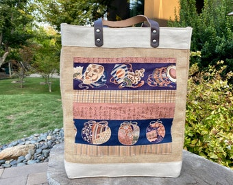 Japanese jute/canvas tote bag with real leather handles