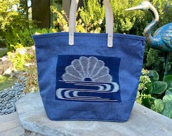 Antique Kiku over Water Kasuri Laminated Jute Tote/Real Leather Handles/Japanese tote bag