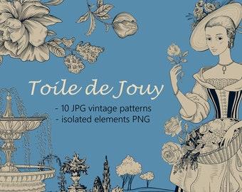 10 JPG Toile de Jouy Patterns + elements PNG