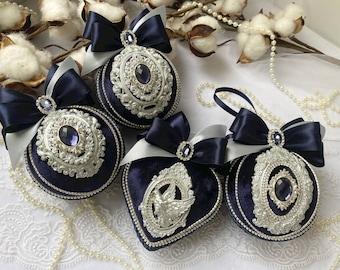 Handmade balls in a gift box, Xmas decorations, Navy Blue Christmas ornaments set, Christmas tree baubles