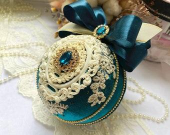 Christmas ornament, Xmas decoration, Handmade ball, Dark green Christmas tree baubles