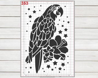 Cute Tropical Parrot Stencil Mylar Plastic 190mic A4 sheet size  strong reusable Painting Airbrush Craft Art Furniture Wall Deco