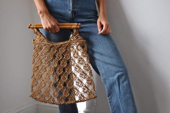 Vintage 70's Macrame bag with wooden Handles, Natu