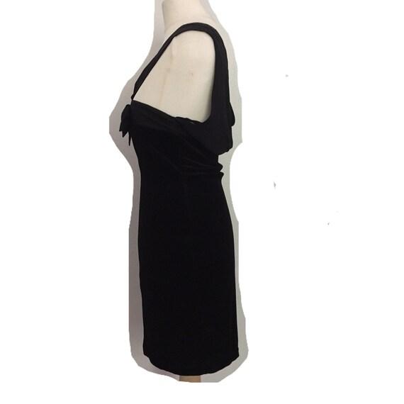 vintage black velour bodycon dress - image 3
