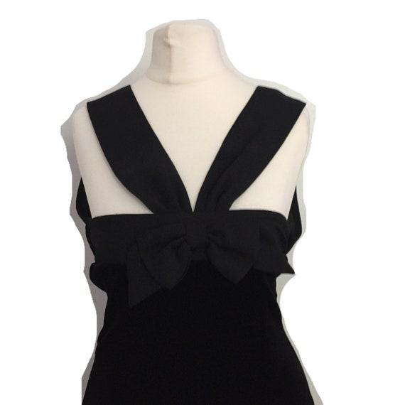 vintage black velour bodycon dress - image 2