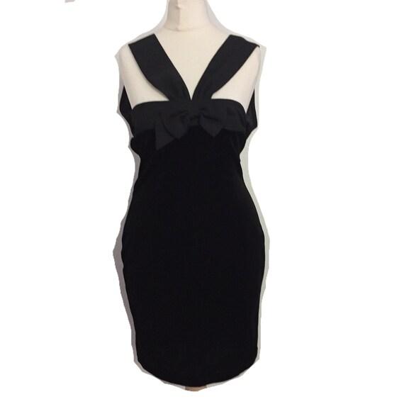 vintage black velour bodycon dress - image 1