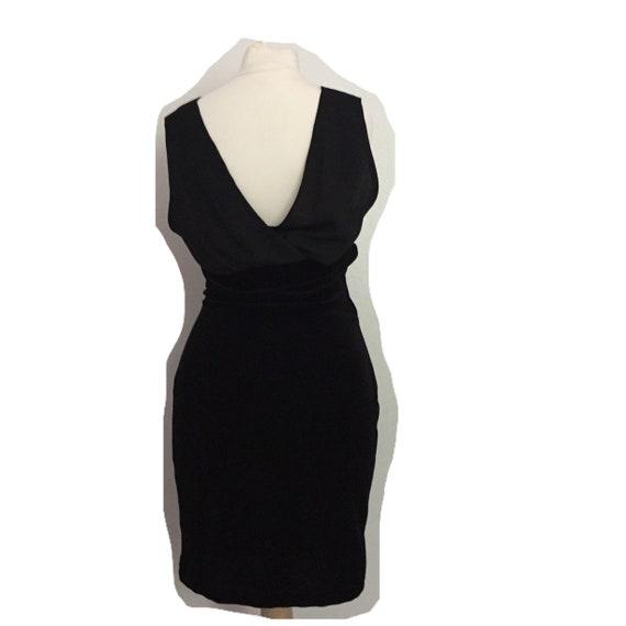 vintage black velour bodycon dress - image 4