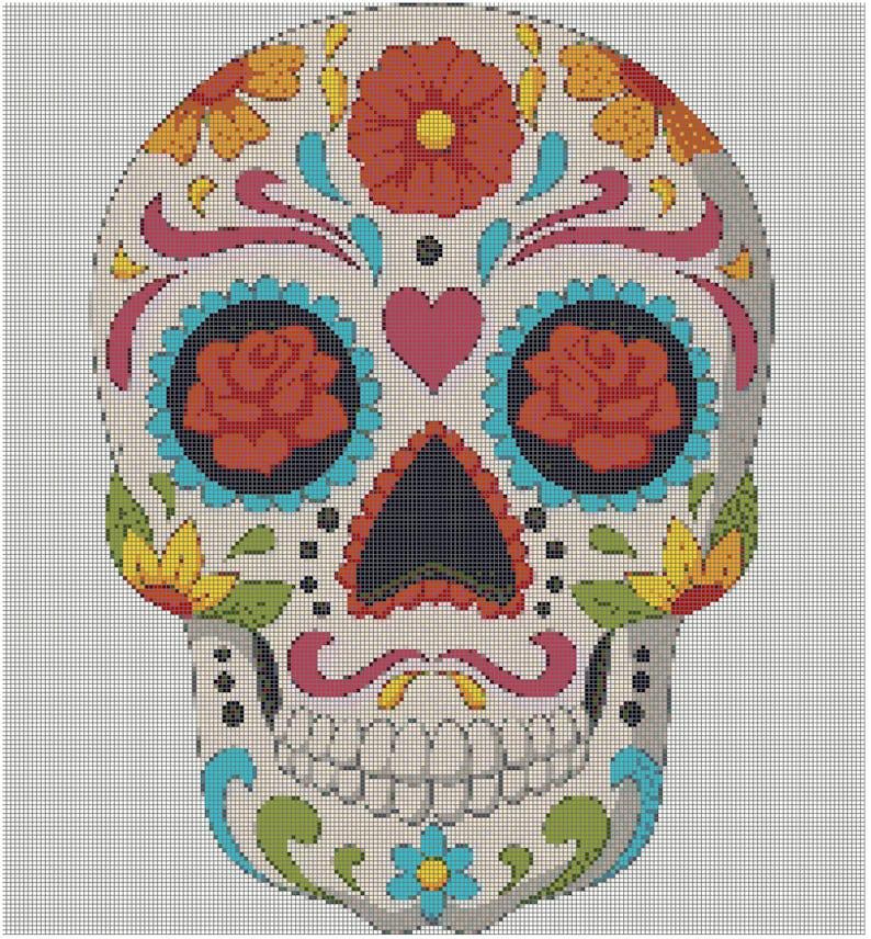 Cross stitch pattern PDF Instant Download Sugar skull