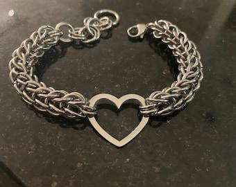 Silver Byzantine Heart Chainmaille Bracelet