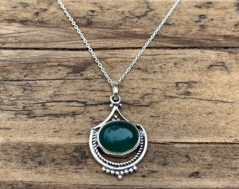 Green onyx necklace, Delicate necklace, Boho green necklace, Green teardrop  necklace, Sterling silver green necklace