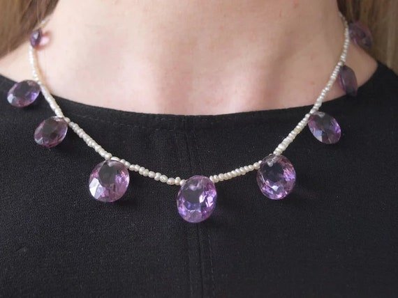 Early Victorian Seed Pearl And Amethyst Drop Neckl