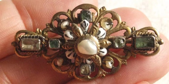 Austro Hungarian Pearl And Emerald Brooch