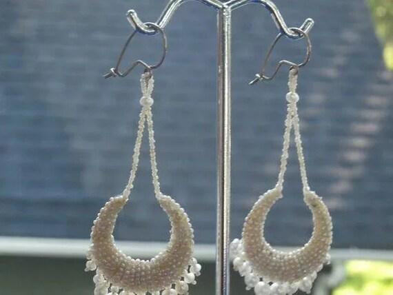 Georgian Natural Pearl Hoop Drop Earrings