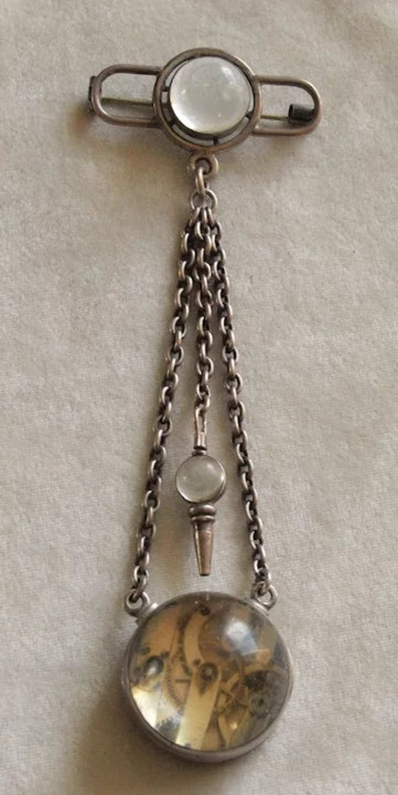 Mid Victorian French Silver Ball Watch Chatelaine