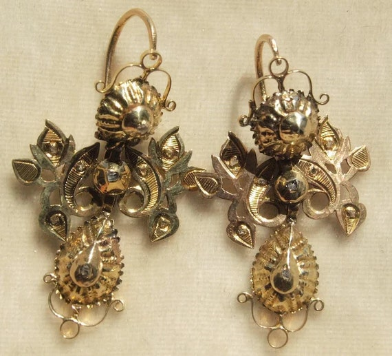 Exceptional 18th Century Diamond Drop Earrings