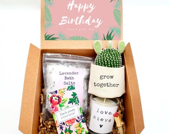 """Grow Together 2"""" planter gift box   PLANT INCLUDED   Happy Birthday gift box   Best friend gift box   gift for her   care package gift box"""