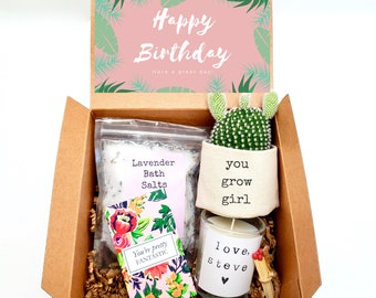 """You Grow Girl 2"""" planter gift box   PLANT INCLUDED   Happy Birthday gift box   Best friend gift box   gift for her   care package gift box"""