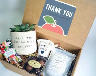 """Teacher Care Package   3"""" PLANT INCLUDED   Thank you for helping me grow gift box   Gift for Teacher"""
