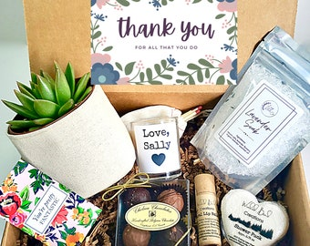 """Custom 3"""" planter gift box   3"""" PLANT INCLUDED   best friend gift box   Care package for her   Thank you Gift Box"""
