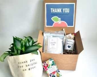 Teacher Care Package   PLANT NOT INCLUDED   Thank you for helping me grow gift box   Gift for Teacher