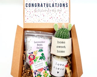 """Home Sweet Home 2"""" planter gift box   PLANT INCLUDED   Congratulations gift box   Best friend gift box   care package gift box"""