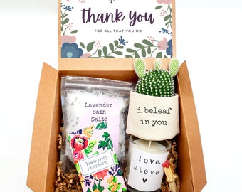 """I beleaf in you 2"""" planter gift box   PLANT INCLUDED   Thank you gift box   Best friend gift box   gift for her   care package gift box"""