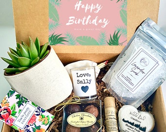 """Custom 3"""" planter gift box   3"""" PLANT INCLUDED   best friend gift box   Care package for her   Happy Birthday Gift Box"""