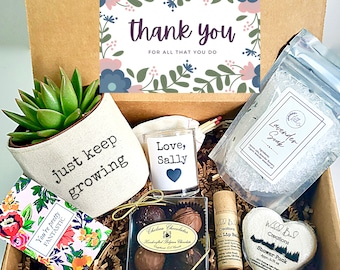 """Just Keep Growing 3"""" planter gift box   3"""" PLANT INCLUDED   best friend gift box   Care package for her   Thank you Gift Box"""