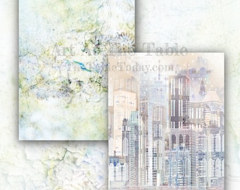 URBAN 21 High-Quality 8.5x11 Resizable Digital Paper Designs. Arts & Crafts, Junk Journal, Scrapbook, Collage, Mixed Media...
