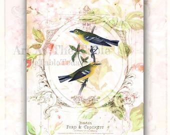 PARISIAN BIRDS 10 High-Quality 8.5x11 Digital Paper Designs. Download. Printable. Junk and Art Journals, Mixed Media, Etc.