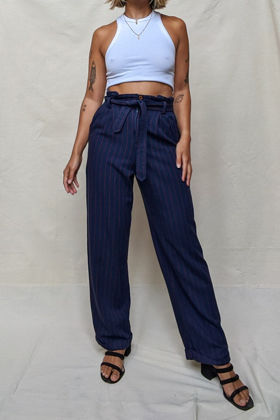 Vintage Lizsport High Waisted Red Navy Striped Tro