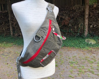 XL Belly bag made of duffel bag Bum bag special recycling fanny pack Crossbody upcycling fashion unisex bag