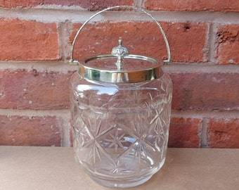 Glass powder jar 1950's French vintage