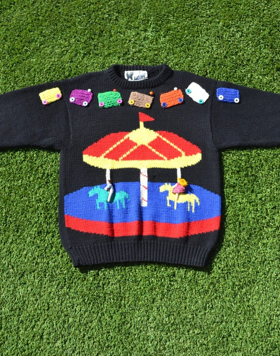 VINTAGE 90s UGLY JUMPER! 90s Rainbow Circus Knit,