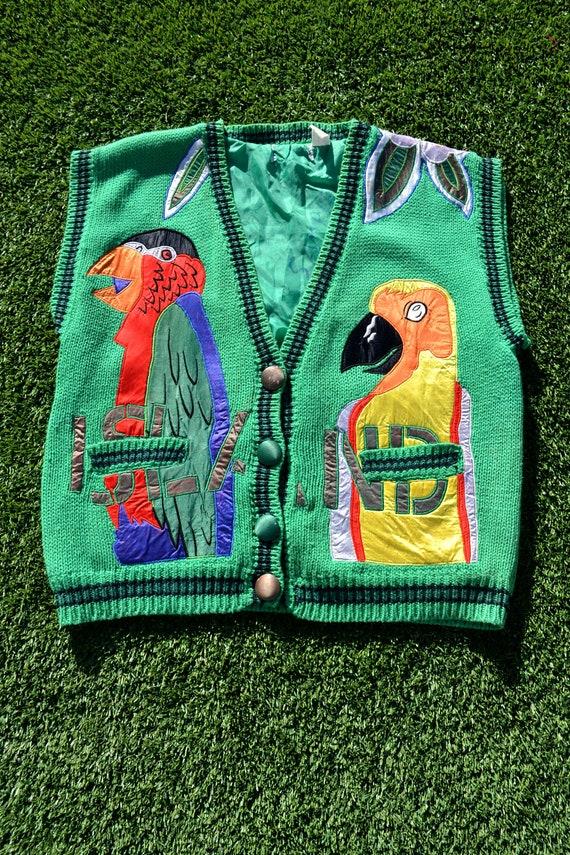 VINTAGE 80s UGLY VEST! Rainbow Parrot Vest, Bird V