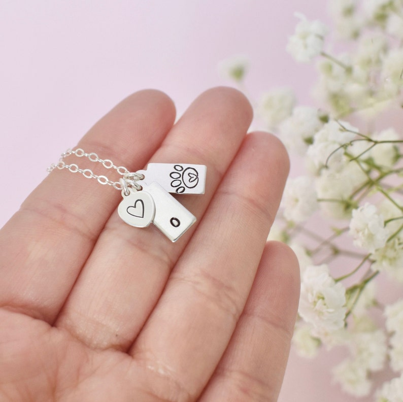 dog memorial gift dog lover gift paw print initial necklace silver pet loss gift hand stamped dog tag necklace Custom Dog mom necklace