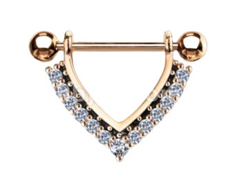 Luxurious Jewelry For Nipple Surgical Steel Set With Crystals. Several color choices.