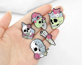 day of the dead punk rock jewelry resin gothic brooch Skull Halloween lapel pin creepy cute badge