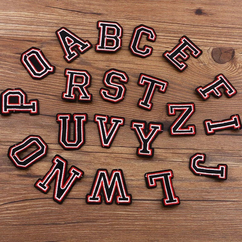 Iron On Letters Red /& Black Letters Iron On Patch letters College Font Letters