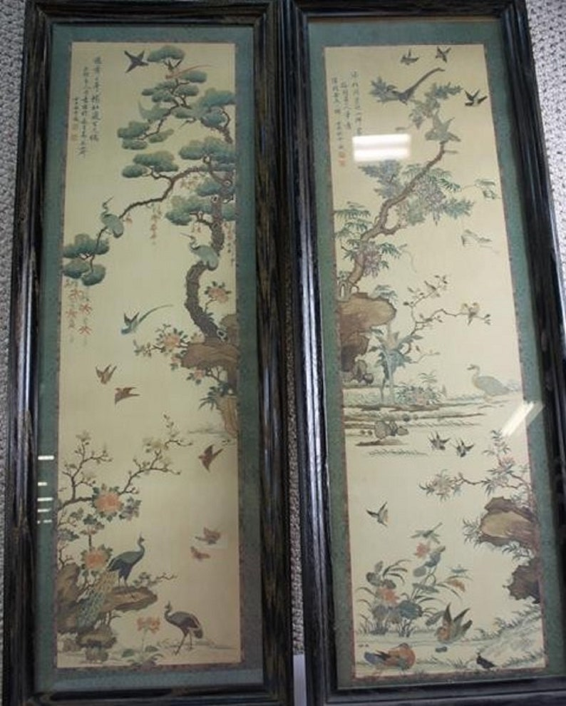 Pair of Asian art pieces signed by artist