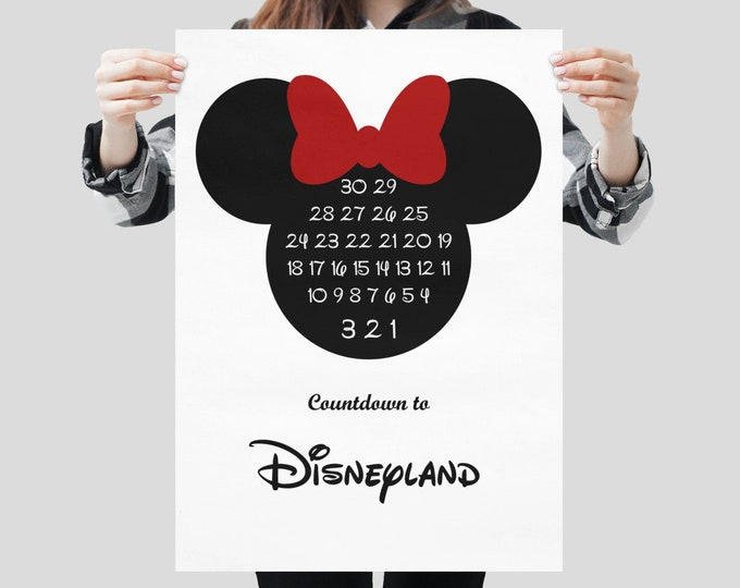 Disneyland Countdown Print Minnie Ears Download Poster Art