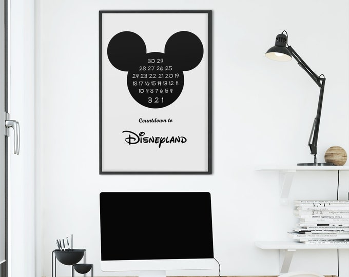 Disneyland Countdown Print Mickey Ears Download Poster Art