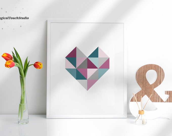Printable Geometric Heart Triangle Print Colorful Printable Wall Art Prints White