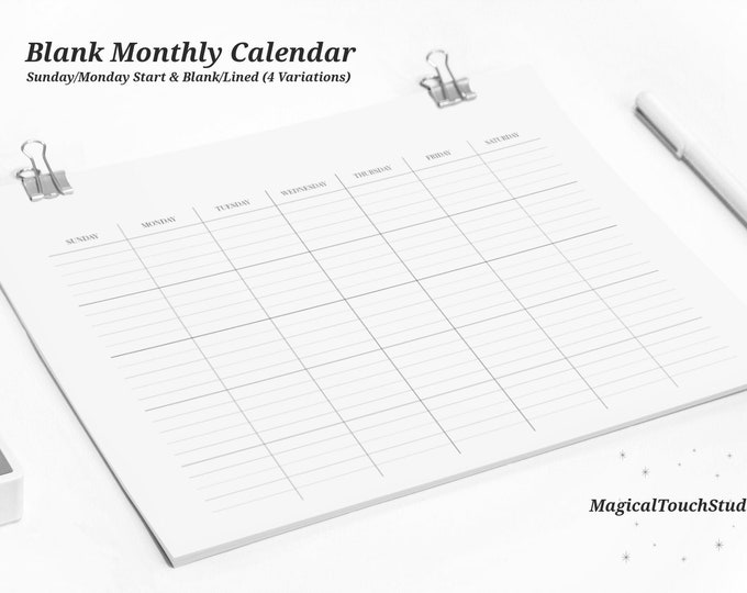 Blank Printable Monthly Calendar, Instant Digital Download, Sunday/Monday Start